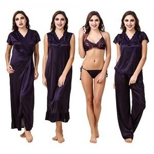 Fasense Satin Nightwear 6 Pc Set of Nighty, Wrap Gown, Top, Pajama, Bra & Thong ED001