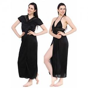 Fasense Satin Nightwear 2 PCs Set of Nighty & Wrap Gown, DP043