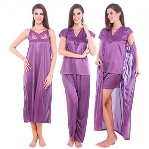 Fasense Satin 5 PCs Set of Nighty, Wrap Gown, Top, Pyjama & Shorts