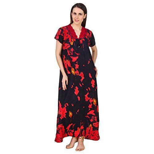 Fasense Women Cotton Nightwear Sleepwear Long Nighty DP179 Red
