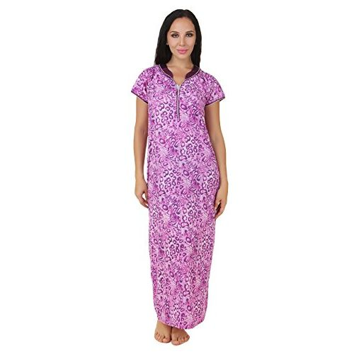 Fasense Exclusive Women Cotton Nightwear Long Nighty, DP158 Purple