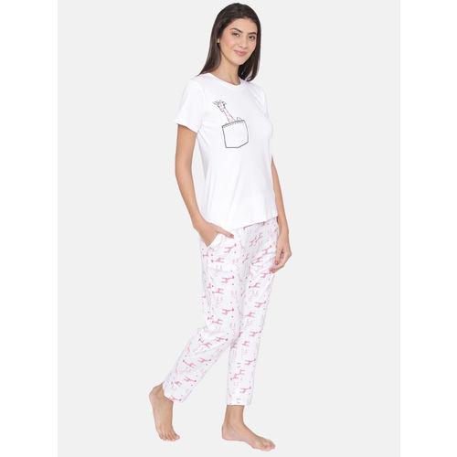 9371b94f15f Buy Clovia Women White   Pink Printed Lounge Set LS0339A18XL online ...