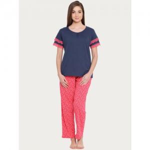 Clovia Women Pink & Navy Blue Solid Night suit LS0358P14XXL