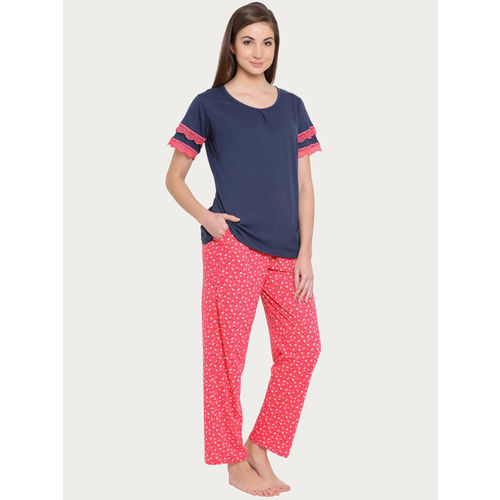 Clovia Women Pink & Navy Blue Solid Night suit LS0358P14XXL