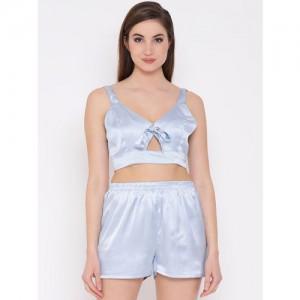 Clovia Women Blue Solid Night suit NS1040P03XL