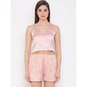 Clovia Women Pink Solid Night suit NS1156P22XL