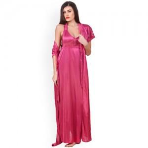 Fasense Women Pink Solid Nightdress OM007C3