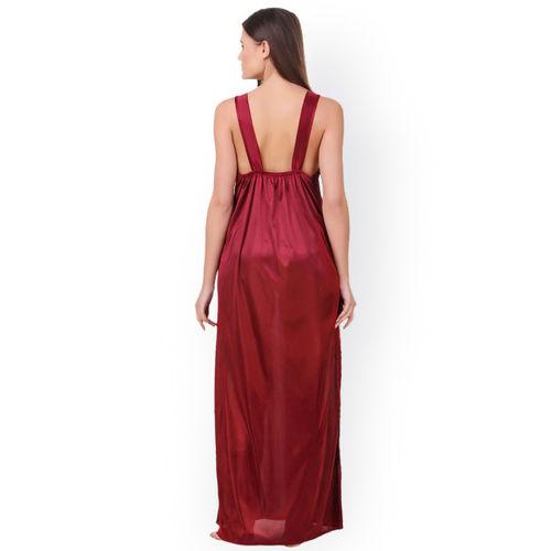 Fasense Women Maroon Solid Nightdress OM007D3