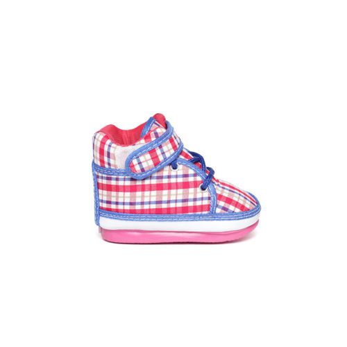 CHUTPUT Kids Pink & Blue Checked Mid-Top Squeaky Sneakers