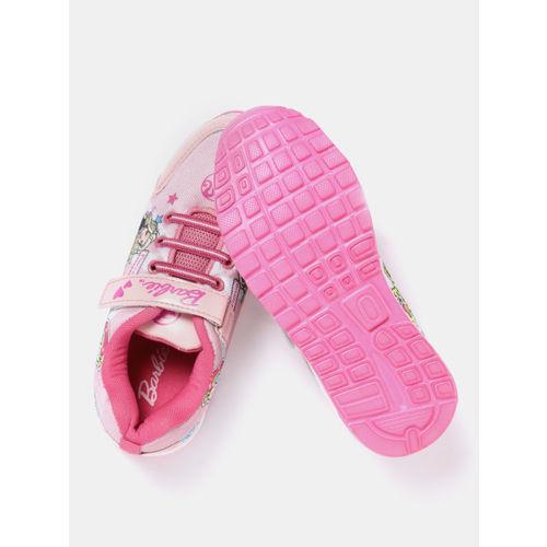 YK Barbie Girls Pink Printed Sneakers