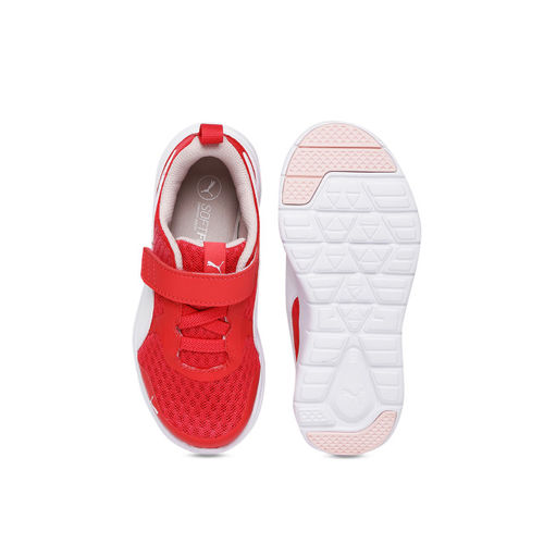 Puma Girls Pink & White Striped Sneakers