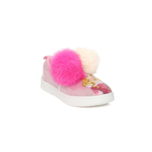 Disney Girls Pink Pom-Pom Printed Slip-On Sneakers