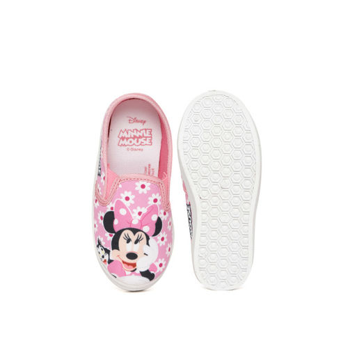 Disney Girls Pink & White Printed Slip-On Sneakers
