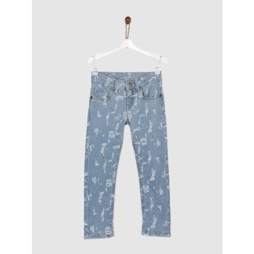 Yellow Kite Girls Blue Regular Fit Mid-Rise Highly Distressed Stretchable Jeans
