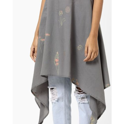 AJIO Floral Print A-line Kurta with Dipped Hems