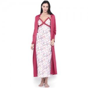 PrettySecrets White & Pink Satin Chemise Midi Nightdress with Robe PS0916STXXSCHC01