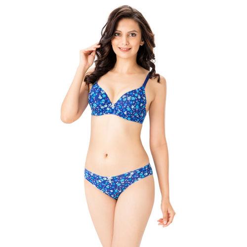 ef4022fd652 Buy PrettySecrets Women Blue Floral Print Lingerie Set BP04SS18 ...