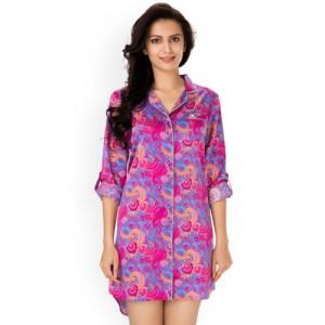 PrettySecrets Women Pink & Purple Printed Sleep Shirt NW0047