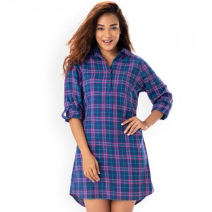 PrettySecrets Women Blue & Pink Checked Sleep Shirt