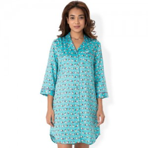 PrettySecrets Blue Printed Sleep Shirt NW0021