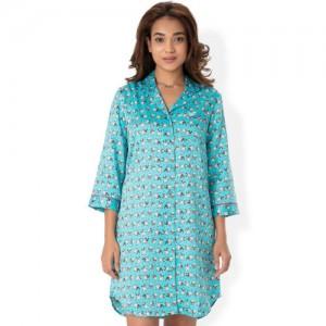 PrettySecrets Blue Printed Sleep Shirt NW0021