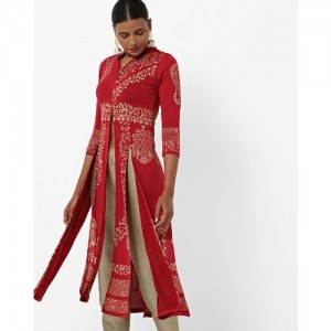 Ira Soleil Printed Zip-Front A-line Kurta with Slits
