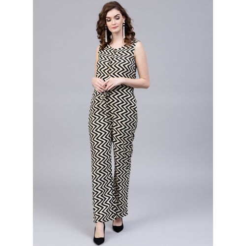 AKS Black & Cream-Coloured Cotton Printed Basic Jumpsuit