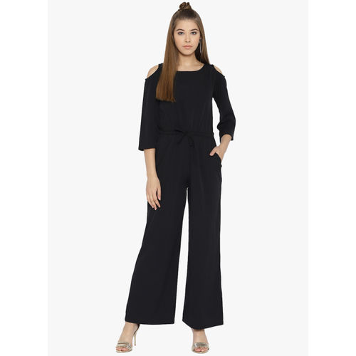 Cottinfab Black Solid Jumpsuit