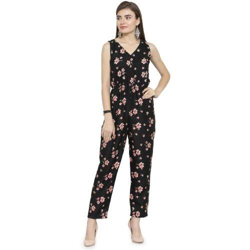 Enchanted Drapes  Black Floral Print Women's Jumpsuit
