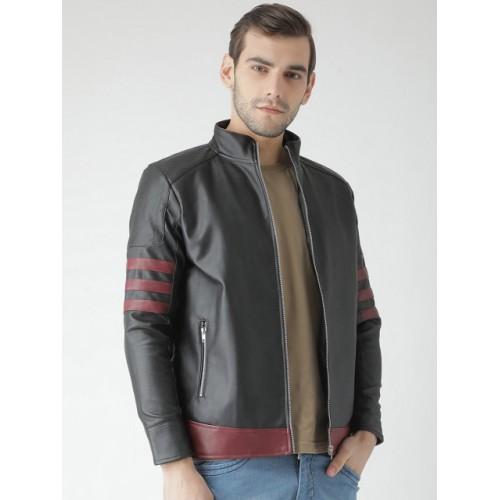 Teesort Men Black Polyurethane Solid Biker Jacket