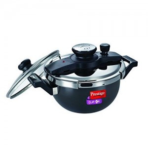 Prestige Clip On Hard Anodized Aluminum Kadai Pressure Cooker Set, 3.5 litres, 2-Pieces, Charcoal Black