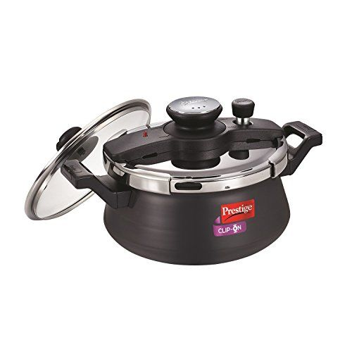 Prestige Clip On Aluminium Handi Pressure Cooker with Glass Lid, 5 Litres, Black