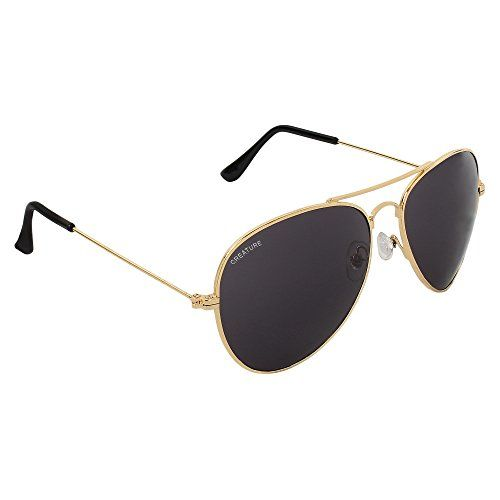CREATURE UV Protection Aviator Polycarbonate Unisex Sunglasses Combo (Lens-Black and Brown, Frame-Golden)