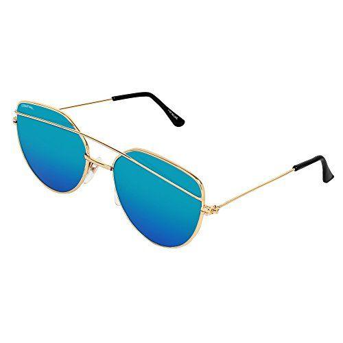 Creature Blue Aviator Uv Protected Unisex Sunglasses (Lens-Blue||Frame-Golden||SUN-006)