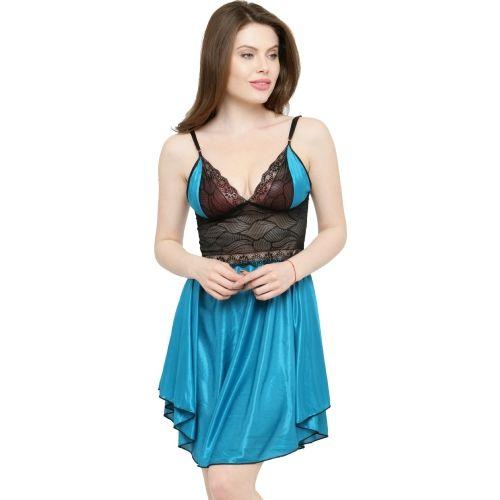 N-Gal Princess Cut Blue Satin Bridal Babydoll Night Dress-NSR24-Blue
