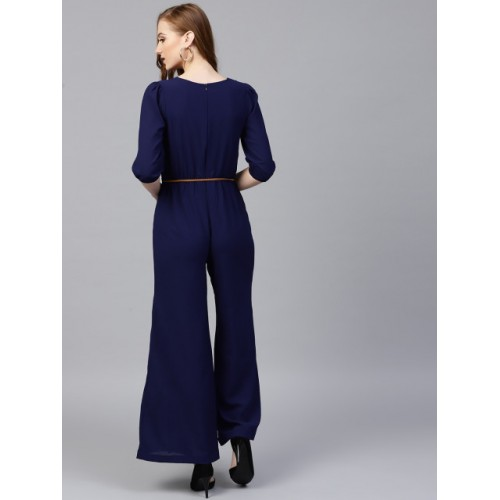 SASSAFRAS Navy Blue Polyster Solid Basic Jumpsuit