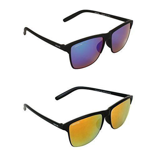 Creature Multicolour & Yellow Wayfarer Sunglasses Combo with UV Protection (Lens-Multicolour & Yellow||Frame-Black||Doit-003-005)