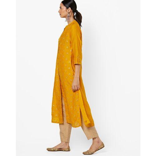 Melange By Lifestyle Sequinned Straight Kurta with Mandarin Collar
