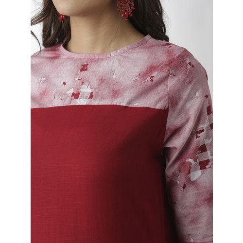 breya Women Maroon & Pink Printed Straight Kurta