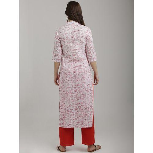 breya Women White & Red Printed Straight Kurta