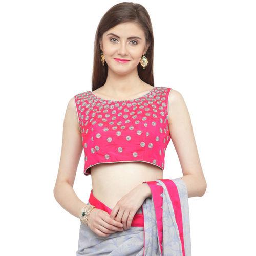 Shaily Grey & Pink Pure Chiffon Printed Saree