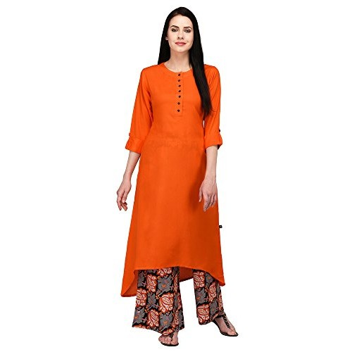 Pistaa's Orange Viscose High Low Kurta With Printed Palazzo set