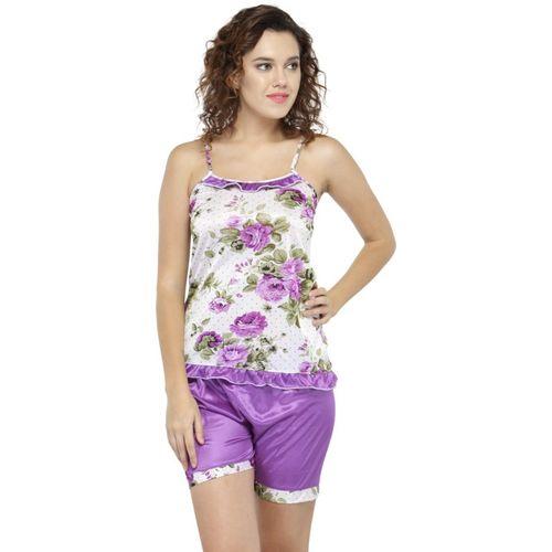 N-Gal Women Printed Purple Top & Shorts Set