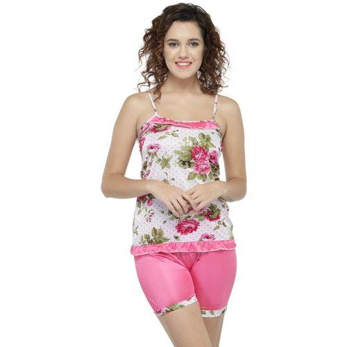 N-Gal Women Printed Pink Top & Shorts Set