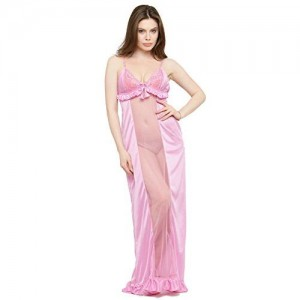 653cecdca N-Gal Deep Neck Pink Satin Maxi Night Dress-NSR27