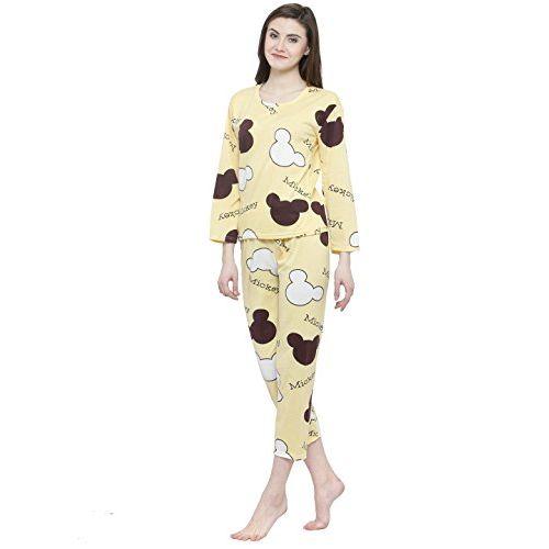 N-Gal Women Yellow White Printed Nightwear Pajama Loungewear Set - NAYN46-Yellow