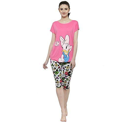 N-Gal Women Printed Nightwear Top and 3/4 Pajama Loungewear Set - NAYN25