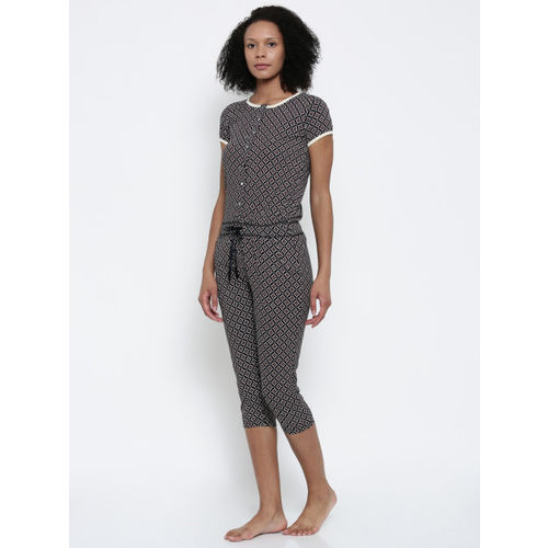 Sweet Dreams Black & White Printed Lounge Jumpsuit 211916