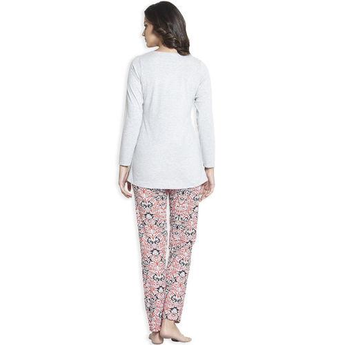 Sweet Dreams Women Grey Melange & Red Night Suit 2255G7CO
