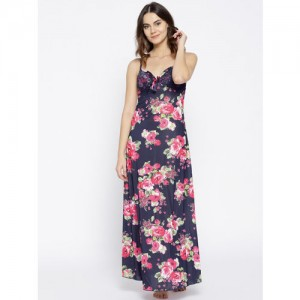 Sweet Dreams Navy & Pink Printed Maxi Nightdress BD0518-D-1